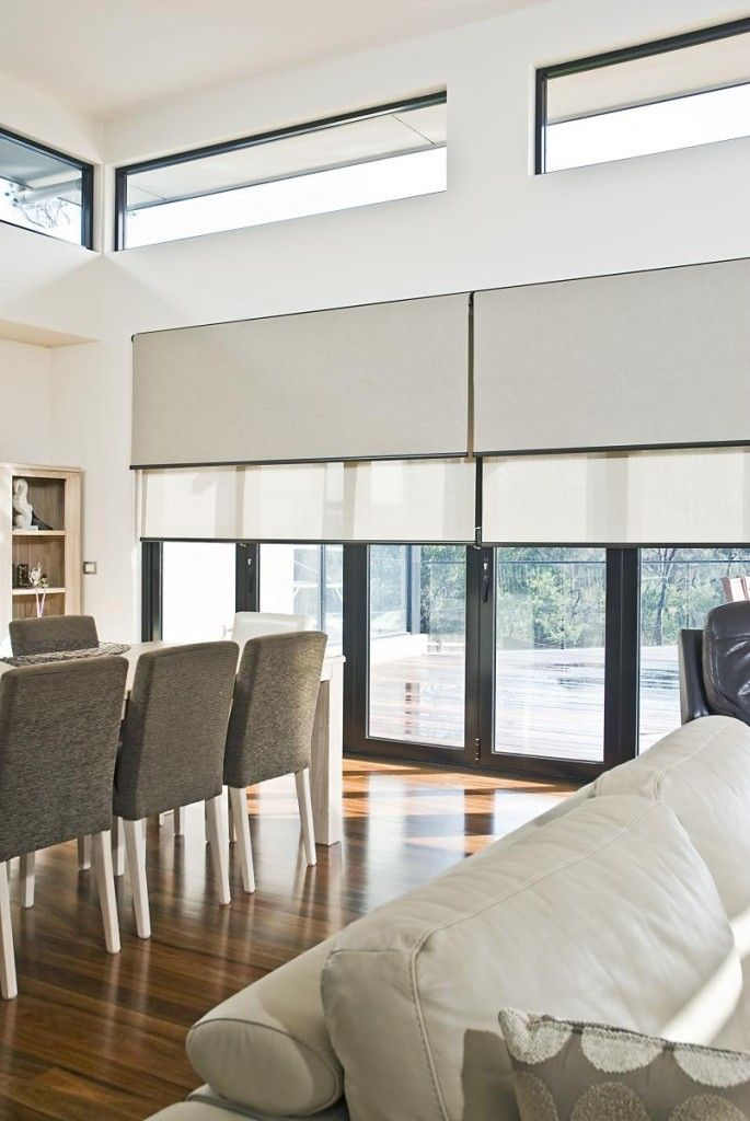 Large Double Roller Blinds With Open Window Above