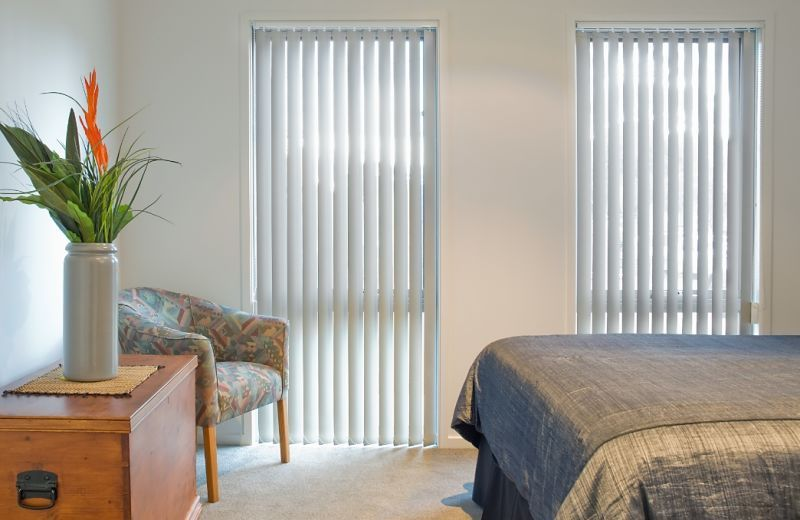 white vertical blinds from the side